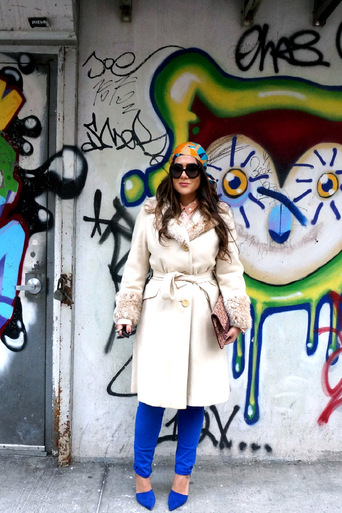 Vintage faux fur trimmed cream coat