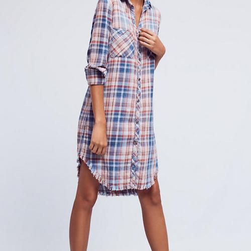 Fringed Plaid Buttondown Dress