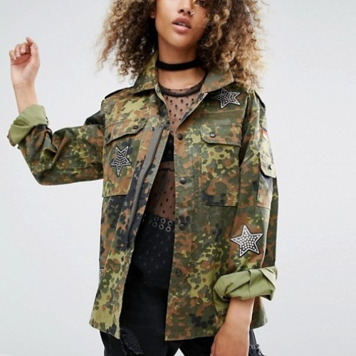 Milk It Vintage Military Jacket With Sequin Patches