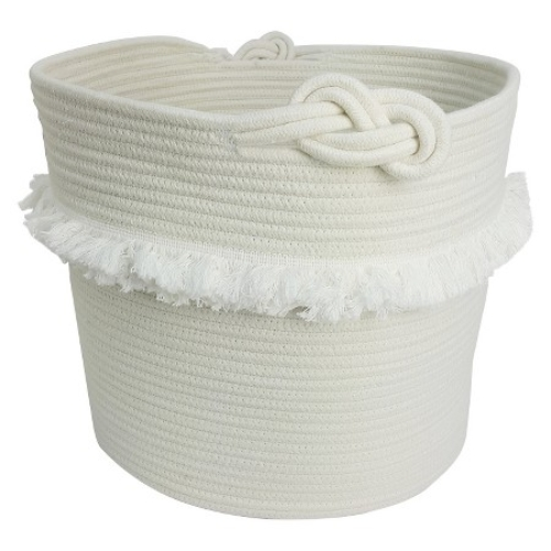 Pillowfort White Rope Basket with Fringe