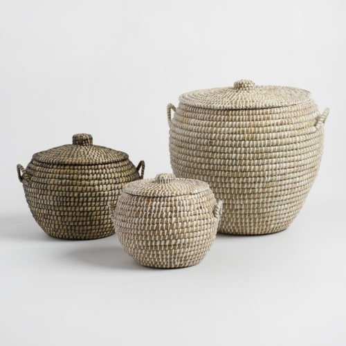 World Market Seagress Penelope Tote Baskets With Lids