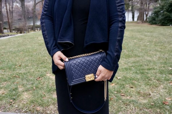 Chanel Navy Boy Bag Gold Hardware