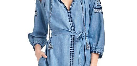 Gap Tencel Embroidery Tassel Tie Belt Dress