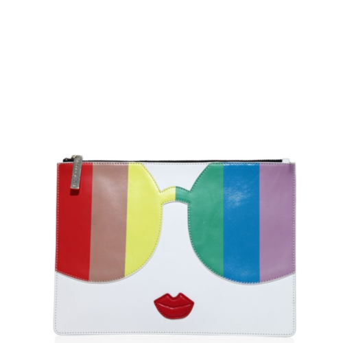 Alce + Olivia Rainbow Printed Leather Clutch