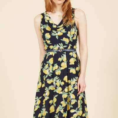 Duly Delighted Midi Dress in Lemons