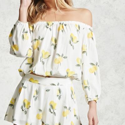 Forever 21 Lemon Print Off-the-Shoulder Top