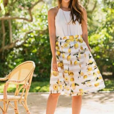 Morning Lavender Piper Stripe Lemon Midi Skirt