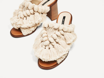 Zara High Heel Slides With Pompoms