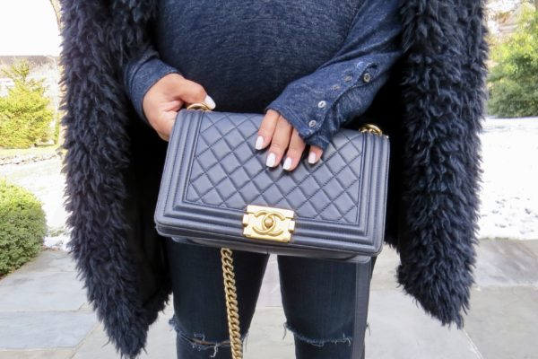 Chanel Navy Boy Bag Gold Hardware