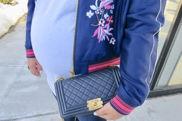 Chanel Navy Boy Bag With Gold Hardware