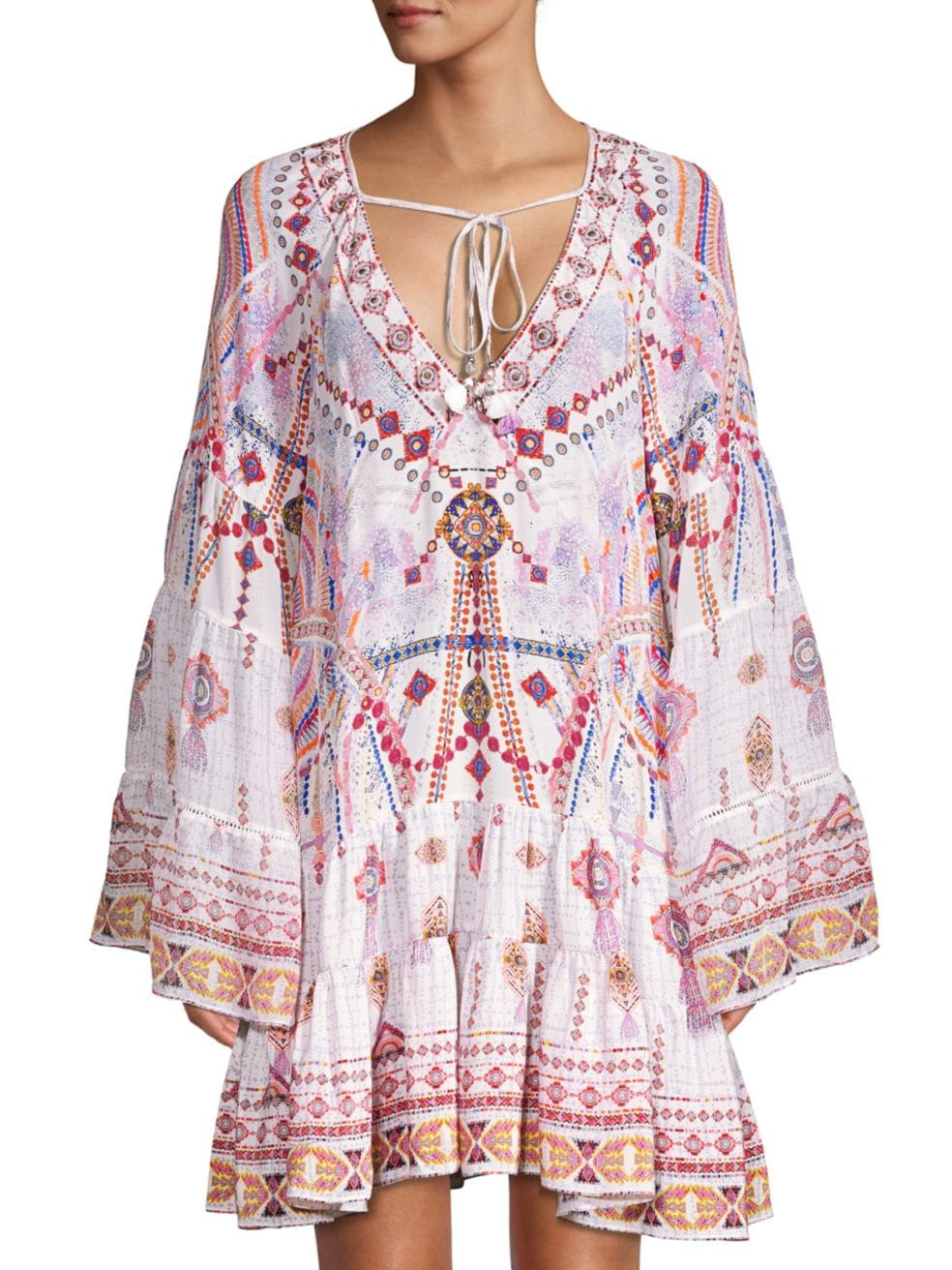 Camilla mixed print gathered panel mini dress